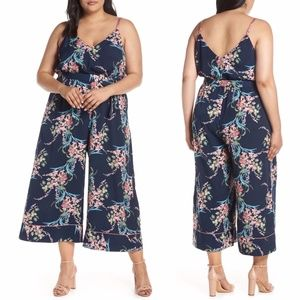 Leith Piped Cami Navy Floral Jumpsuit Plus 2X